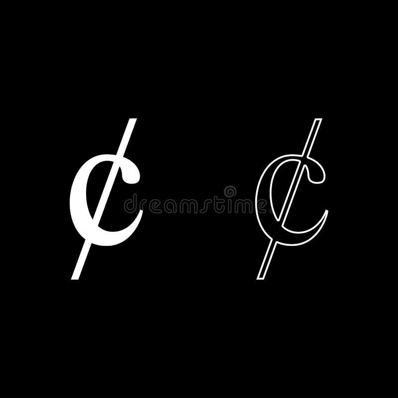 O ícone do dinheiro do dollor do sinal do símbolo do centavo ajustou a imagem lisa do estilo da ilustração branca do vetor da cor ilustração royalty free