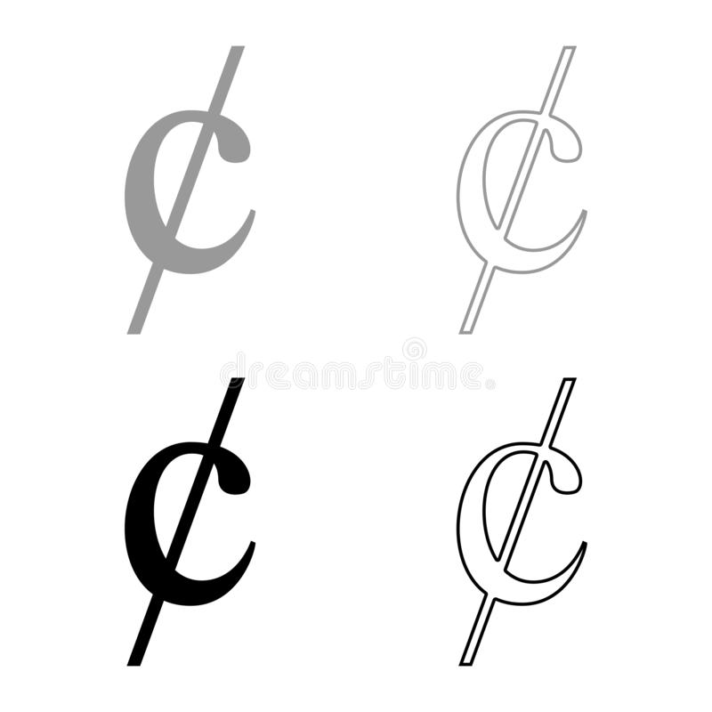O ícone do dinheiro do dollor do sinal do símbolo do centavo ajustou a imagem lisa do estilo da ilustração preta do vetor da cor ilustração do vetor