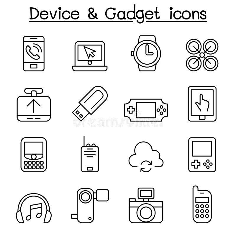 O ícone do dispositivo & do dispositivo ajustou-se na linha estilo fina ilustração stock
