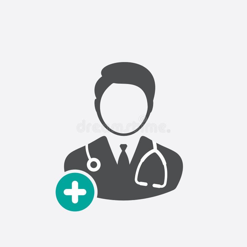 O ícone do doutor com adiciona o sinal Medique o ícone e o símbolo novo, positivo, positivo ilustração royalty free