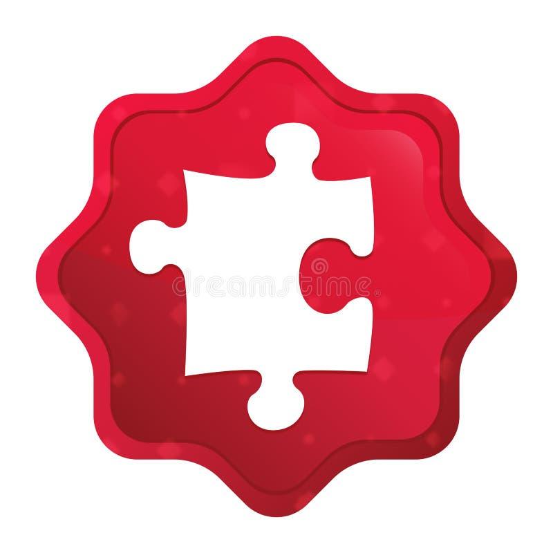 O ícone do enigma enevoado aumentou botão vermelho da etiqueta do starburst ilustração royalty free