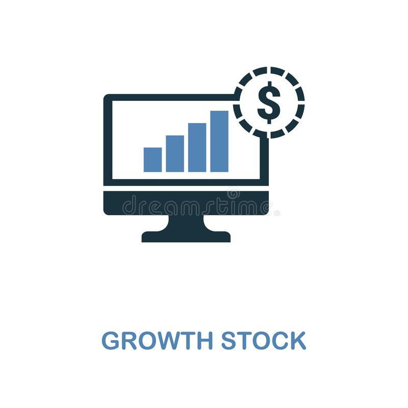 O ícone do estoque de crescimento em duas cores projeta Símbolos perfeitos do pixel da coleção do ícone da finança pessoal UI e U ilustração do vetor