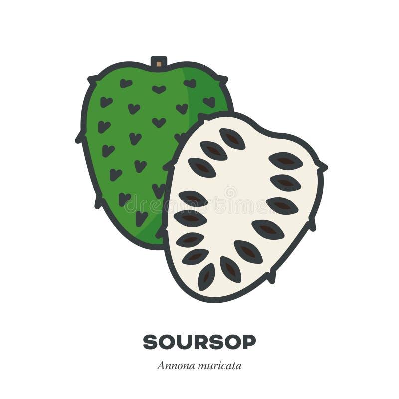O ícone do fruto do Soursop, encheu o vetor do estilo do esboço ilustração stock
