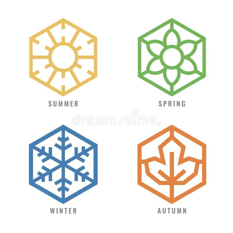 O ícone do hexágono de quatro estações com sinal do sol para o sinal da flor do verão para o sinal da neve da mola para o inverno ilustração royalty free