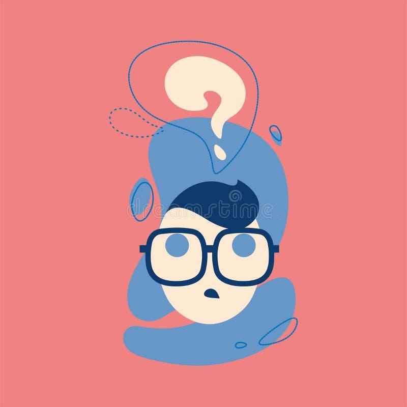O ícone do homem de pensamento com ponto de interrogação pensa dentro a bolha Pense, peça, emoji, conceito da ilustração do stike ilustração stock