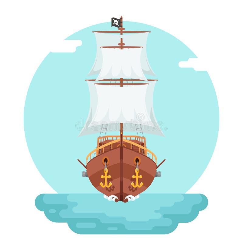 O ícone do jogo do navio do cão de mar do corsário do obstrucionismo do corsário do pirata de Front View Wooden isolou a ilustraç ilustração stock