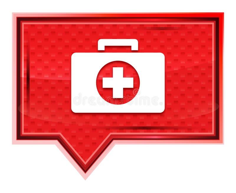 O ícone do kit de primeiros socorros enevoado aumentou botão cor-de-rosa da bandeira ilustração stock