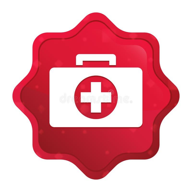 O ícone do kit de primeiros socorros enevoado aumentou botão vermelho da etiqueta do starburst ilustração do vetor