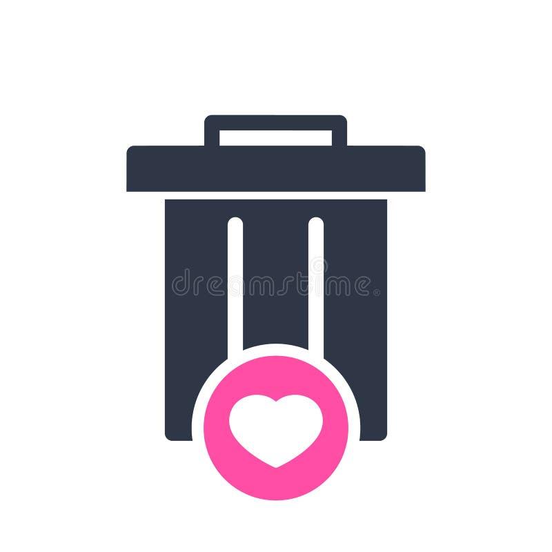 O ícone do lixo, o ícone das ferramentas e dos utensílios com coração assinam Ícone e favorito do lixo, como, amor, símbolo do cu ilustração stock