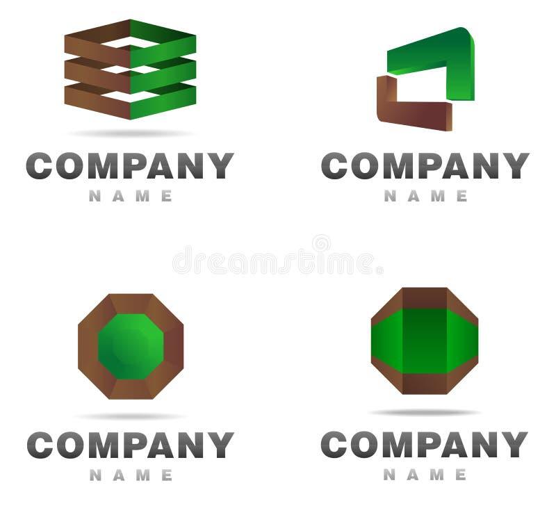 O ícone do logotipo ajustou 2 ilustração stock