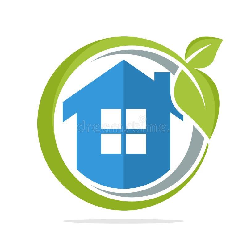 O ícone do logotipo da forma do círculo com o conceito da gestão de energia home a favor do meio ambiente ilustração do vetor