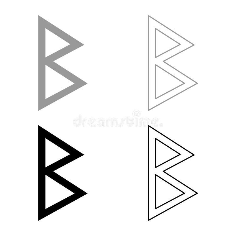 O ícone do nascimento do vidoeiro da runa de Berkana ajustou a imagem simples do estilo liso preto cinzento do esboço da ilustraç ilustração royalty free