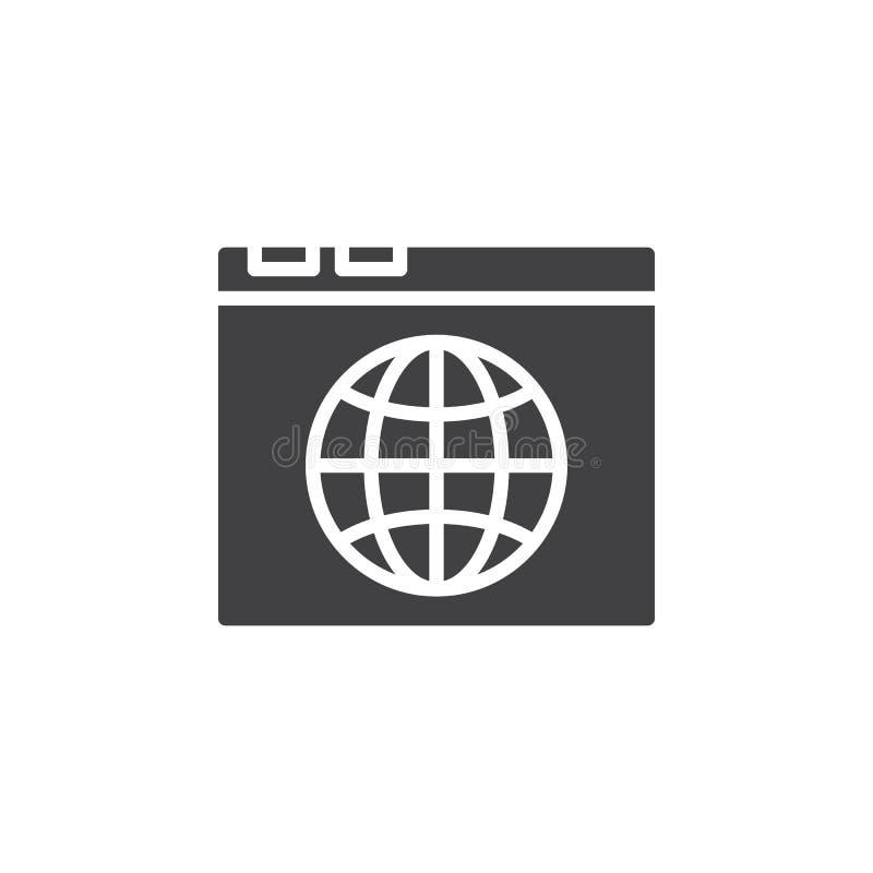 O ícone do navegador e do globo vector, sinal liso enchido ilustração stock