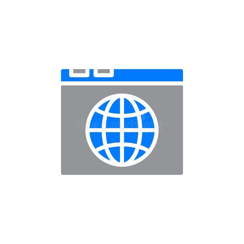 O ícone do navegador e do globo vector, sinal liso enchido, pictograma colorido contínuo isolado no branco ilustração stock