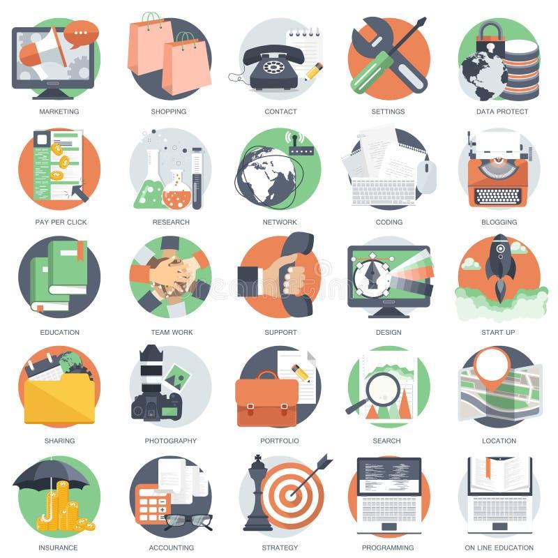 O ícone do negócio, da tecnologia e das finanças ajustou-se para Web site e aplicações e serviços móveis Vetor liso ilustração stock