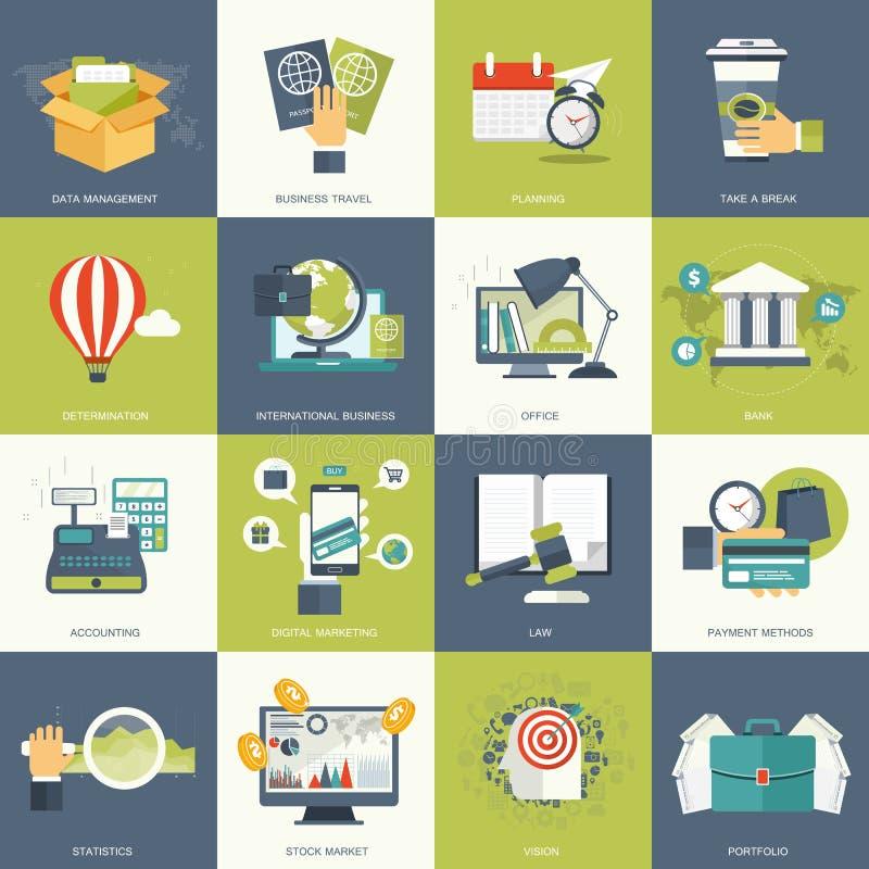O ícone do negócio e da tecnologia ajustou-se para Web site e aplicações móveis Vetor liso ilustração stock