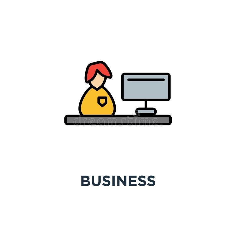 o ícone do negócio, trabalho no computador, caráter alegre engraçado bonito da mulher é de trabalho e de vista para fora atrás do ilustração royalty free