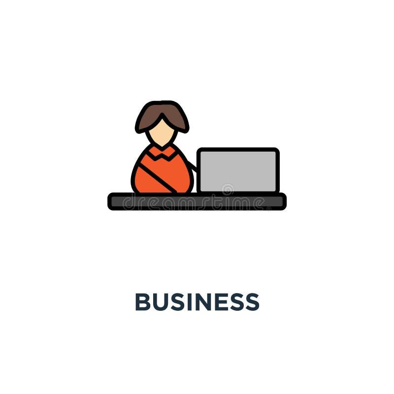 o ícone do negócio, trabalho no computador, caráter alegre engraçado bonito da mulher está trabalhando na tabela do monitor do co ilustração do vetor