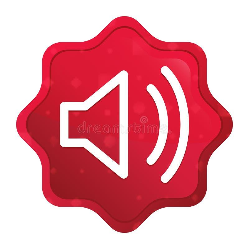 O ícone do orador do volume enevoado aumentou botão vermelho da etiqueta do starburst ilustração royalty free