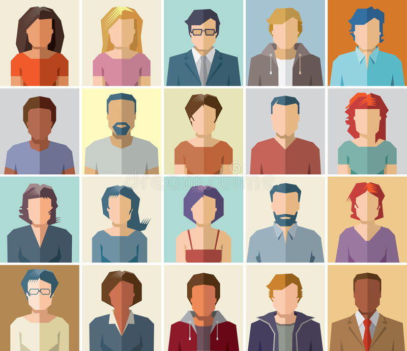 O ícone do perfil do avatar do vetor ajustou - o grupo de ícones dos povos