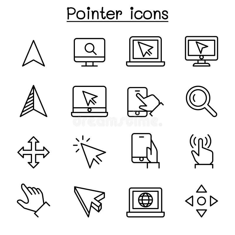 O ícone do ponteiro & do cursor ajustou-se na linha estilo fina ilustração do vetor