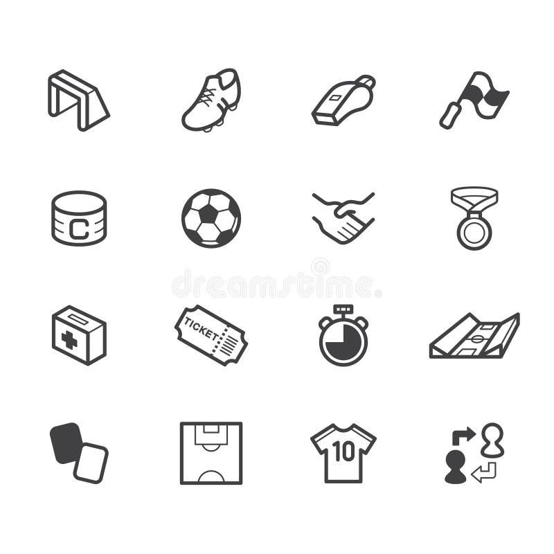 O ícone do preto do elemento do futebol ajustou-se no fundo branco ilustração royalty free