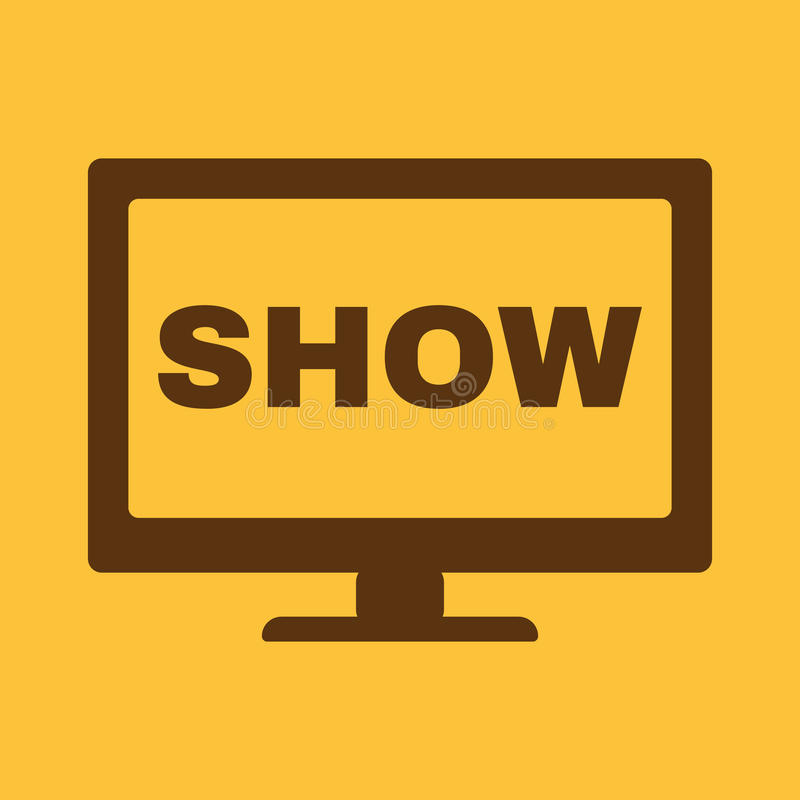O ícone do programa televisivo A televisão e a televisão, telecasting, transmitiram o símbolo liso ilustração do vetor