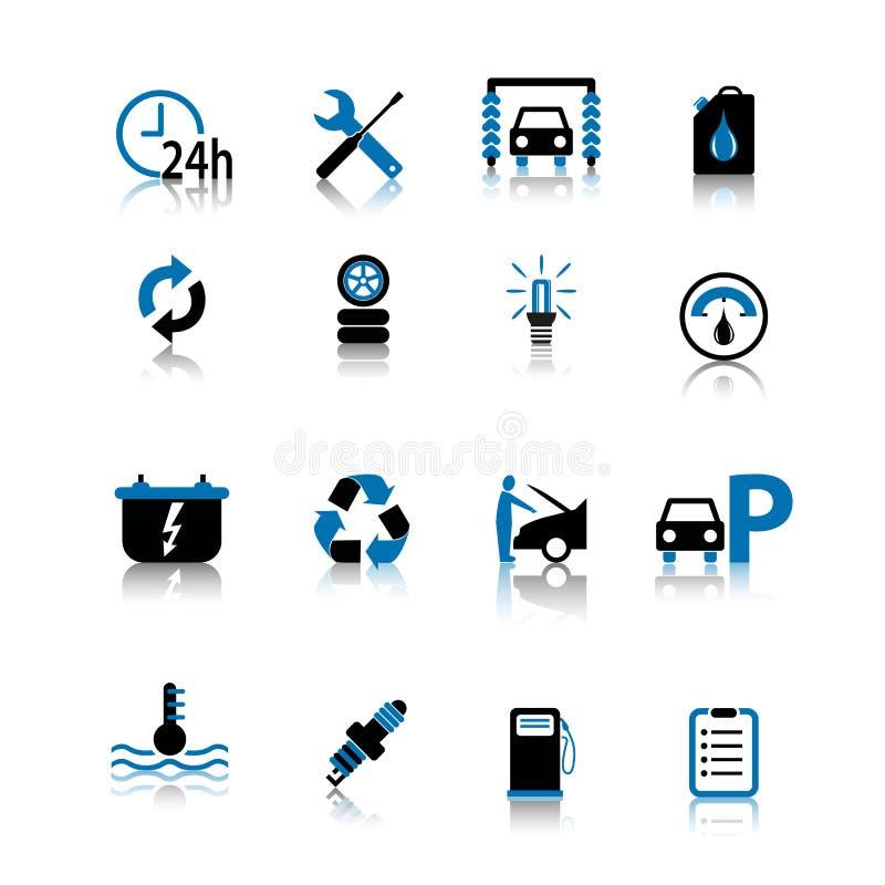 O ícone do símbolo do carro ajustou o preto e o azul isolados no fundo branco ilustração stock
