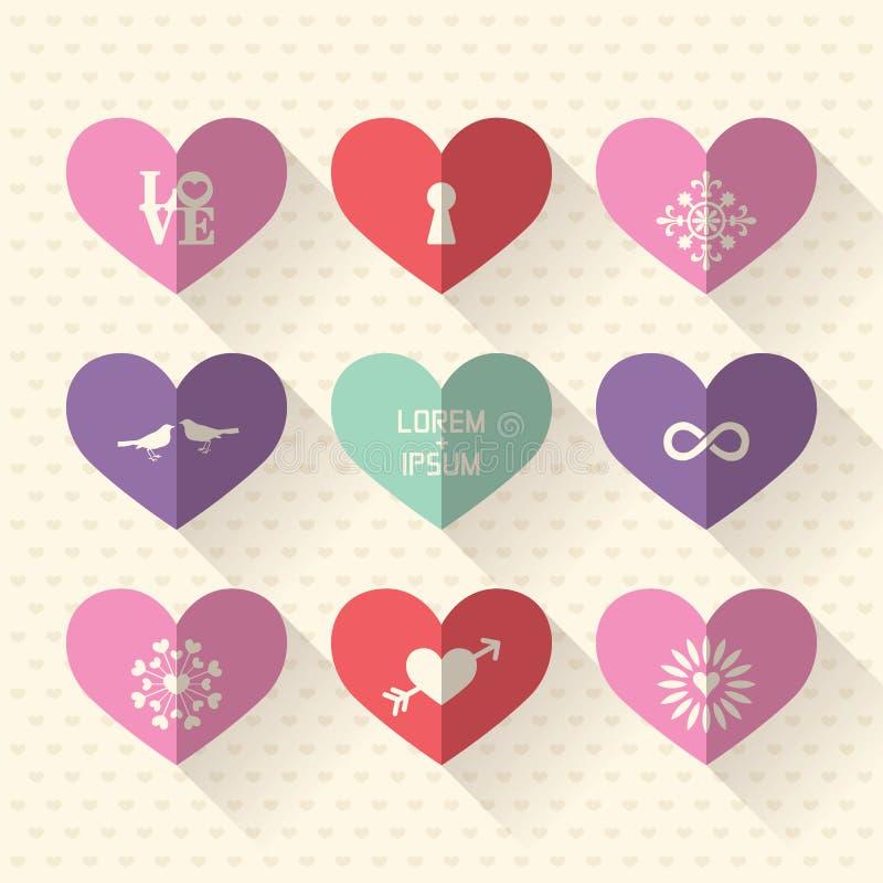 O ícone do símbolo do coração ajustou-se com conceito do amor e do casamento ilustração royalty free