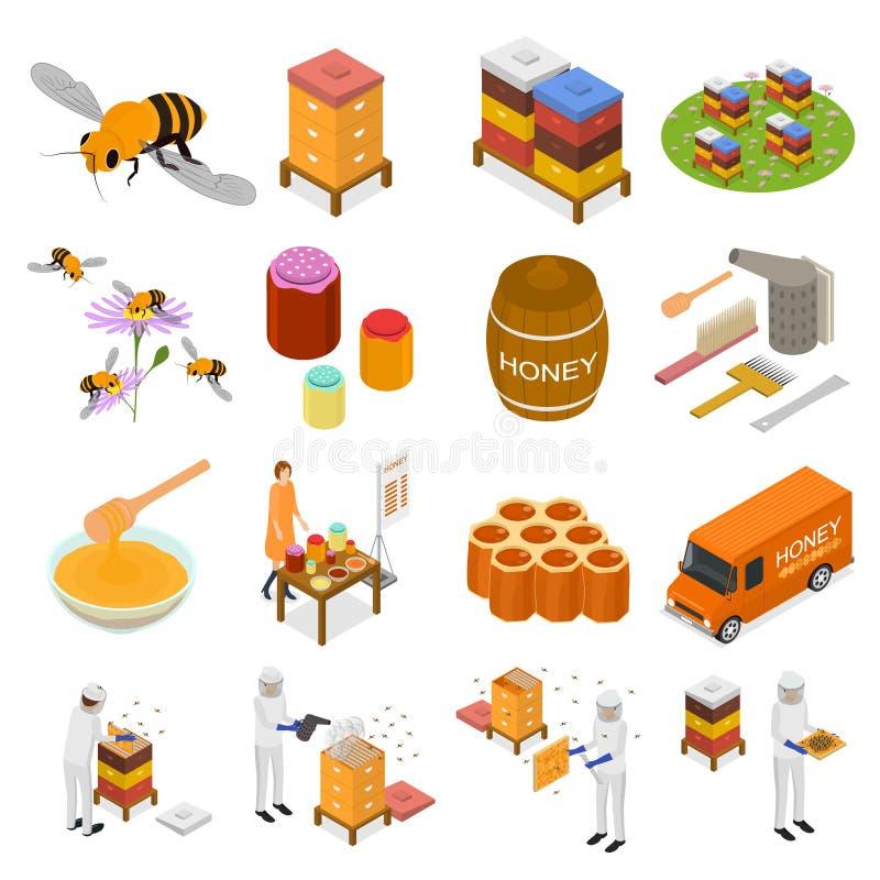 O ícone do sinal 3d do apiário ajustou a vista isométrica Vetor ilustração royalty free