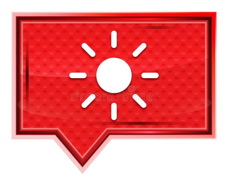 O ícone do sol do brilho da tela enevoado aumentou botão cor-de-rosa da bandeira ilustração stock