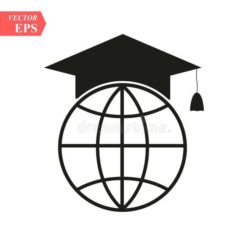 O ícone do tampão e do globo da graduação r  ilustração royalty free
