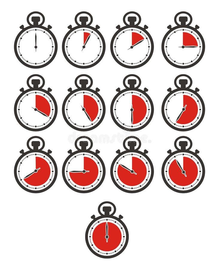 O ícone do temporizador ajusta - o cronômetro, cor vermelha ilustração stock