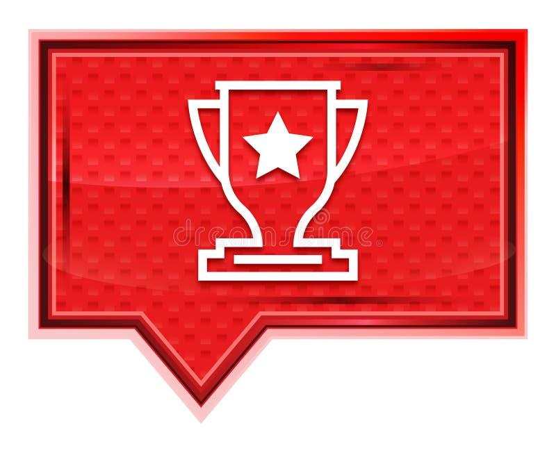 O ícone do troféu enevoado aumentou botão cor-de-rosa da bandeira ilustração do vetor