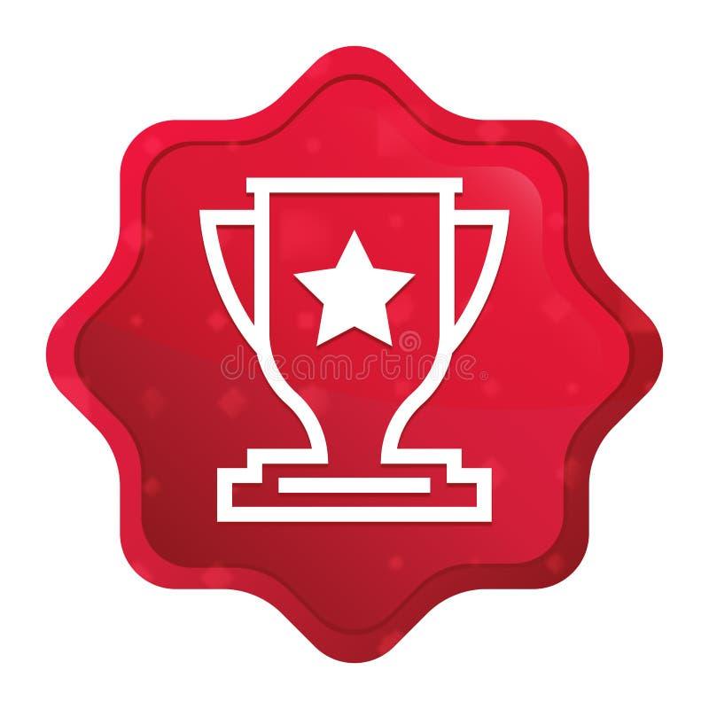 O ícone do troféu enevoado aumentou botão vermelho da etiqueta do starburst ilustração royalty free