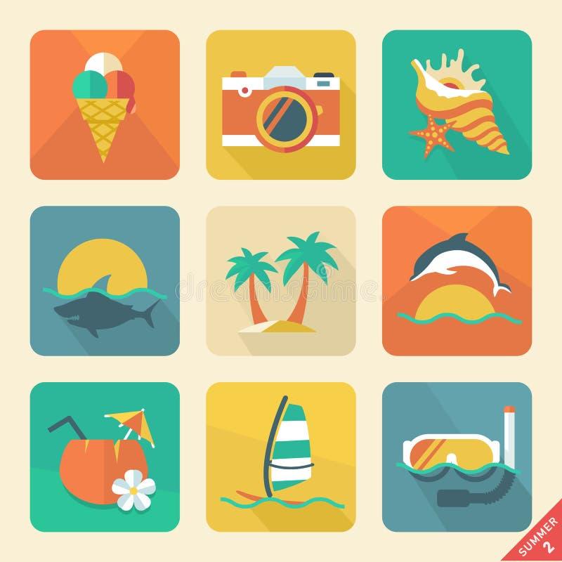 O ícone do verão ajustou a tendência lisa do projeto 2. Cor retro. Illust do vetor