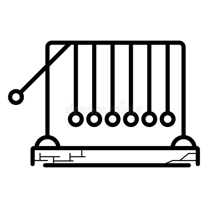 O ícone do berço dos newtons isolado no fundo transparente, newtons embala o conceito do logotipo ilustração do vetor