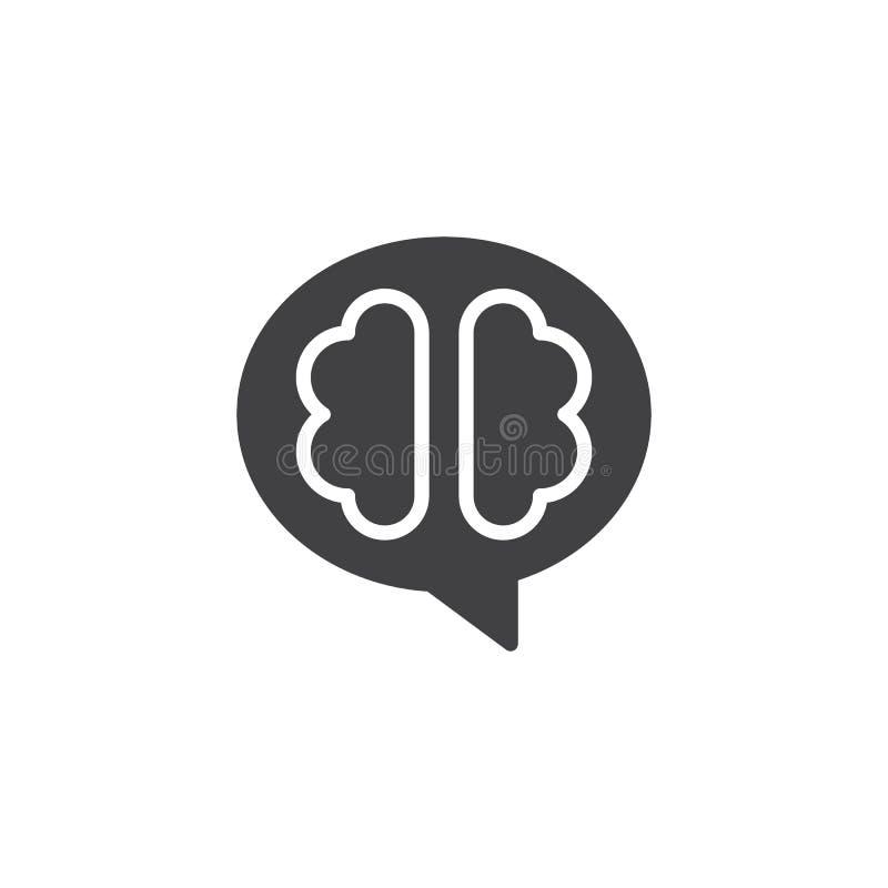 O ícone do vetor do cérebro humano ilustração do vetor