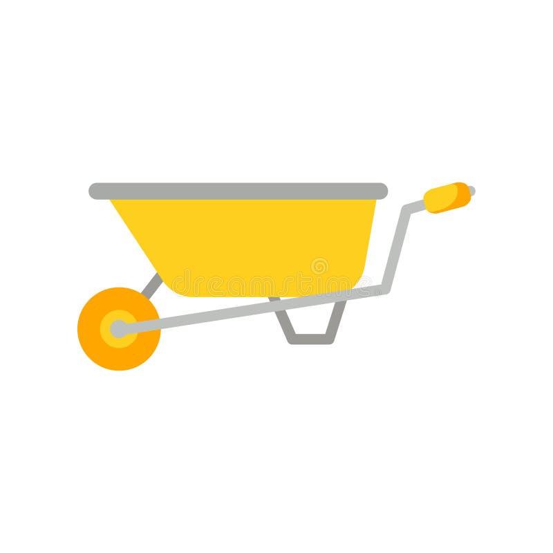 O ícone do vetor do carrinho de mão isolou-se Ferramenta de jardim no estilo dos desenhos animados ilustração do vetor