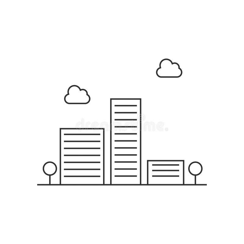 O ícone do vetor da construção de prédio de escritórios isolou 4 ilustração do vetor