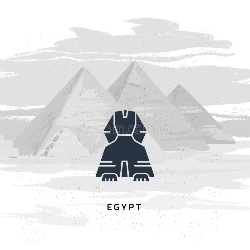 O ícone do vetor da grande esfinge de Giza isolou-se na ilustração desenhado à mão do vetor ilustração do vetor