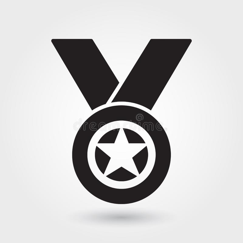 O ícone do vetor da medalha, esportes concede o ícone, símbolo do vencedor do esporte Glyph moderno, simples, ilustração contínua ilustração royalty free