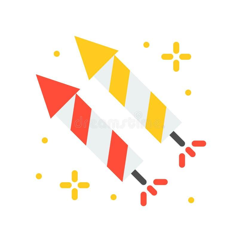 O ícone do vetor do foguete, parque de diversões relacionou o estilo liso ilustração stock