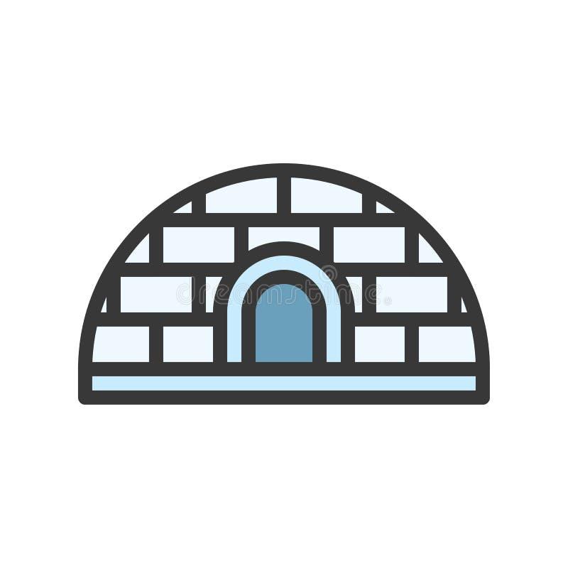 O ícone do vetor do iglu ou da casa da neve, encheu o estilo s editável do esboço ilustração stock