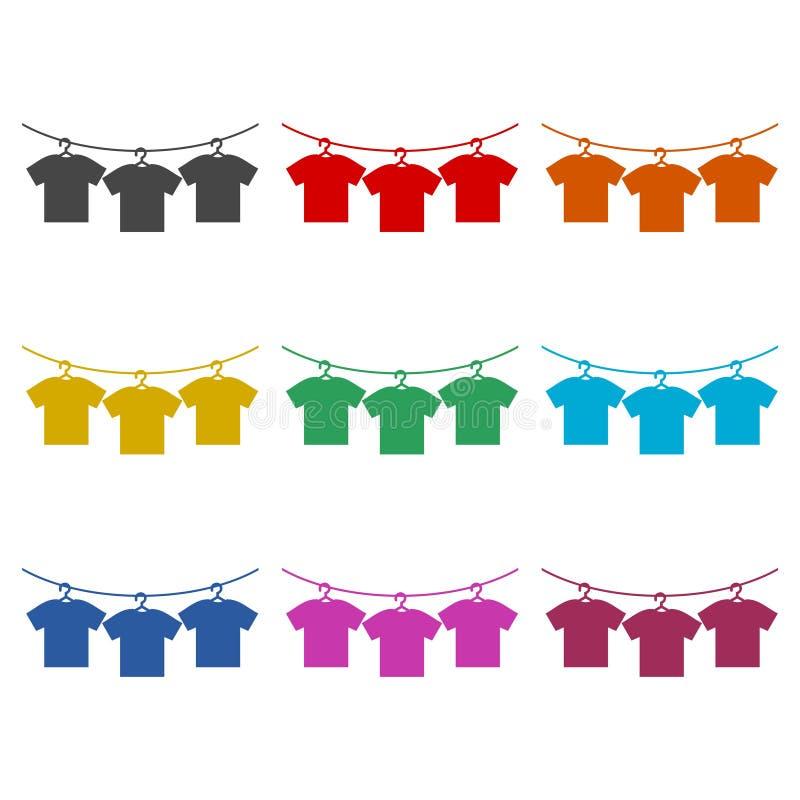 O ícone do vetor do t-shirt, Vector o ícone vazio do Tshirt, ícones da cor ajustados ilustração stock