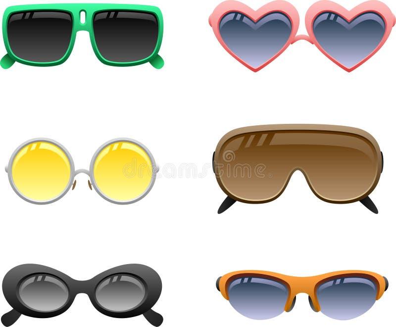 O ícone dos óculos de sol ajustou 2 ilustração stock