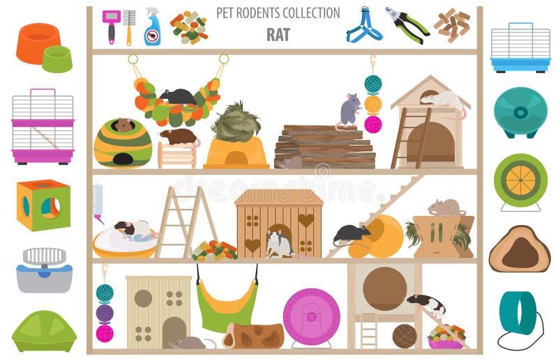 O ícone dos acessórios da casa dos roedores do animal de estimação ajustou o estilo liso isolado no branco Coleção dos cuidados m ilustração do vetor