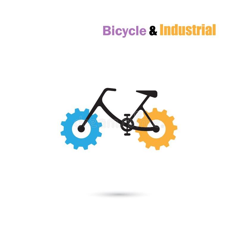 O ícone e a engrenagem do vetor do projeto do logotipo da bicicleta assinam Sinal da bicicleta ilustração royalty free