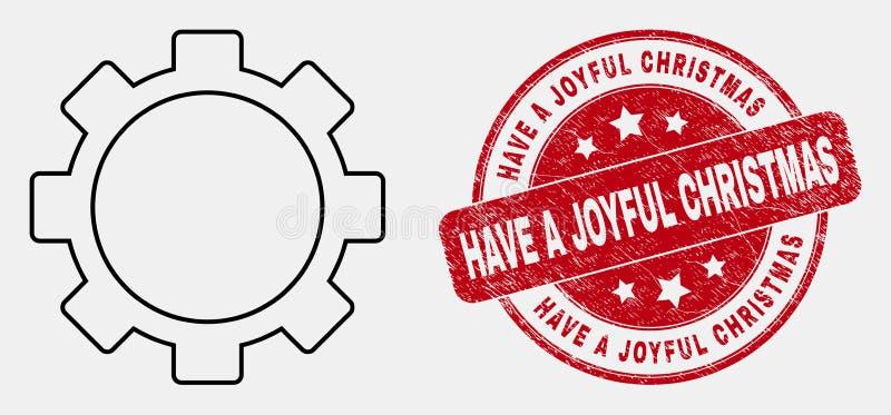 O ícone e o Grunge das ferramentas de instalação do curso do vetor têm um selo alegre do Natal ilustração stock