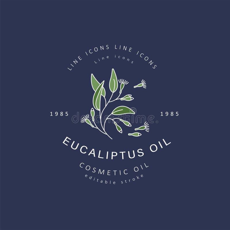 O ícone e o logotipo do vetor para cosméticos naturais lubrificam para importar-se a pele seca ilustração royalty free